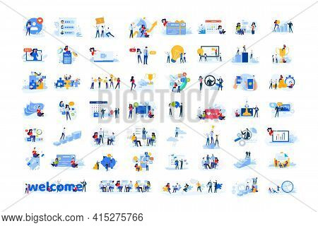 Set Of Modern Flat Design People Icons. Vector Illustration Concepts Of Business, Finance, Marketing