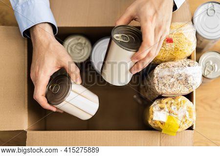 Food Drive Bank. Donating Tin Can Box