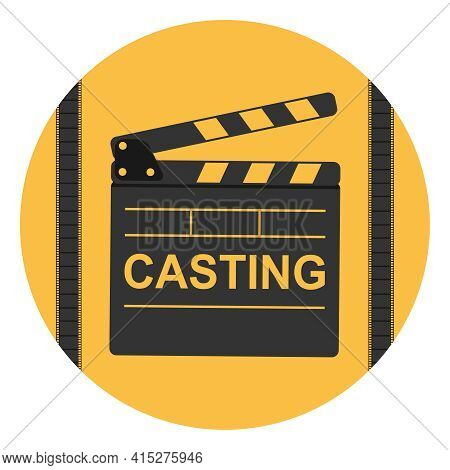 Casting At The Cinema. Film Production Casting Icon. Vector Illustration. Vector.