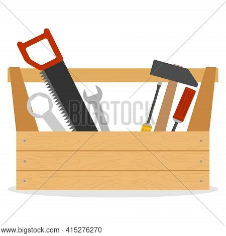 Toolbox. Wooden Box With Hammer, Screwdriver, Hacksaw And Wrench. Vector Illustration. Vector.