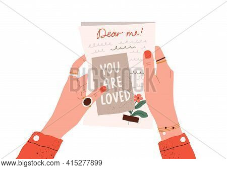 Female Hands Holding Postcard And Handwritten Love Letter To Her Future Self. Woman Reading Message