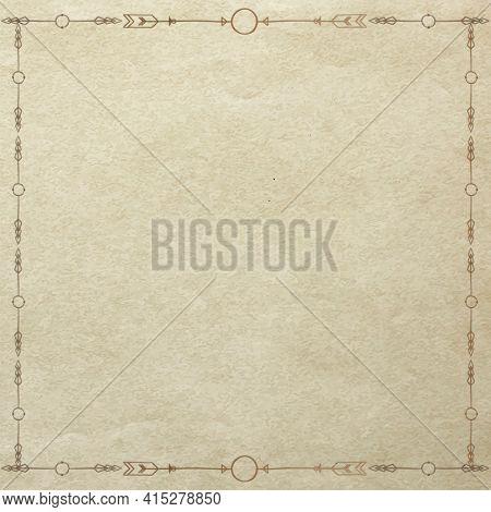 Boho ethnic doodle style border frame