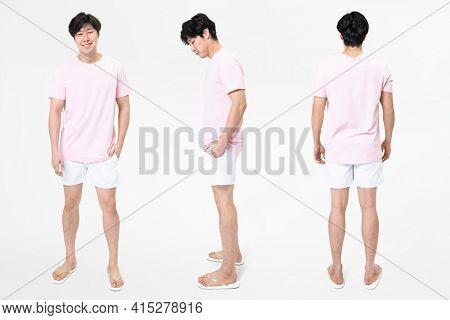 Pink t-shirt and shorts men's basic wear full body
