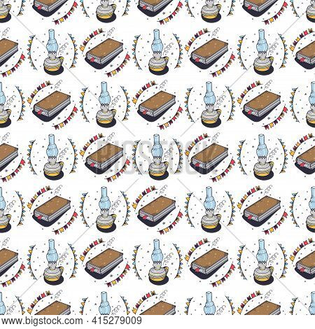 Seamless Pattern With A Kerosene Lamp And A Book. Seamless Pattern On A White Background. Cute Vecto