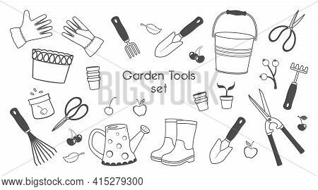 Black And White Set Of Garden Tools And Supplies, Farming Equipment Isolated On A White Background.