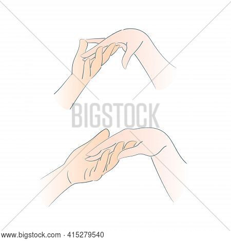 A Romantic Gesture, A Man S Hand Gently Holding A Woman S Hand. The Male And Female Hand Together. R