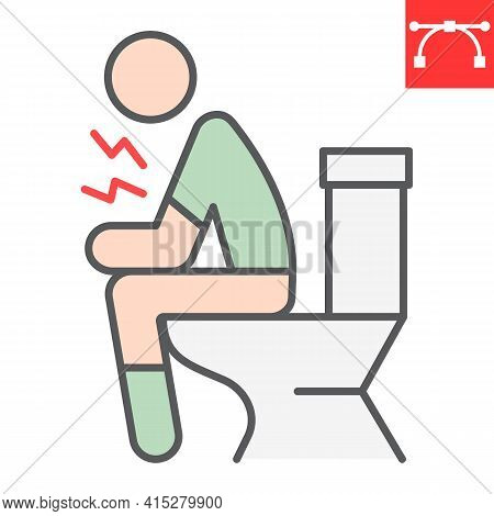 Diarrhea Color Line Icon, Covid-19 And Constipation, Man Sitting On Toilet Vector Icon, Vector Graph