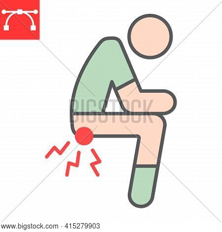 Hemorrhoids Color Line Icon, Anus Pain And Constipation, Hemorrhoid Vector Icon, Vector Graphics, Ed
