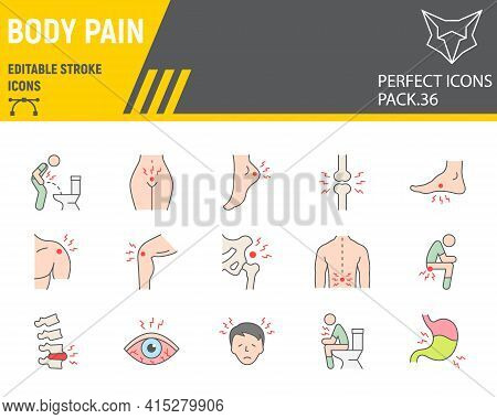 Body Pain Color Line Icon Set, Body Ache Collection, Vector Graphics, Logo Illustrations, Body Pain