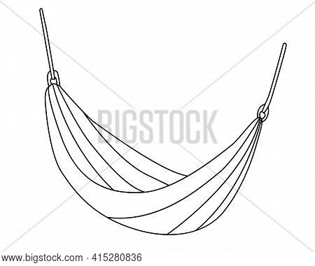 Camping Hammock. Hand Drawn Vector Illustration In Doodle Style On White Background. Isolated Black