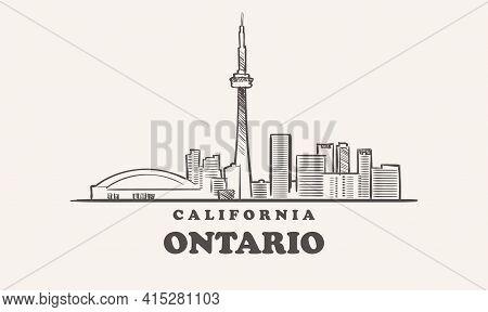 Ontario Skyline, California Drawn Sketch Usa City