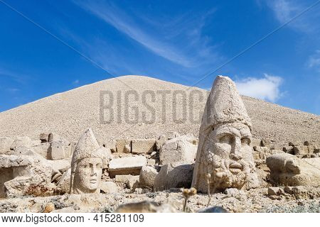 Heads Of Ancient Statues Of Hercules & King Antiochus, Fallen From Its Pedestals During Earthquake,