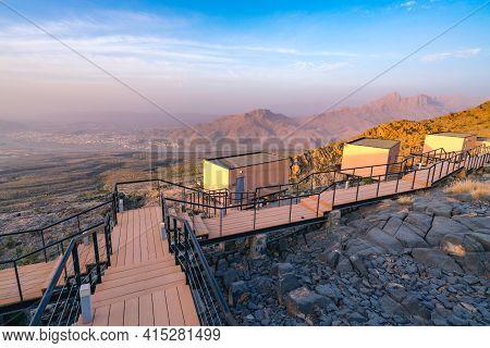 Al Hamra, Oman - 04.10.2018: View From Luxury Resort On The Hill Slope, Overlooking Vast Desert Vall