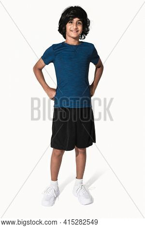 Blue basic t-shirt for boy youth apparel studio shoot