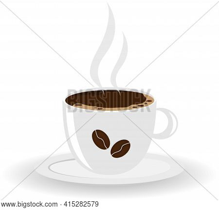 Cup Of Coffee Isolated On White Background. Coffee Cup Icon. Vector, Cartoon Illustration. Vector.
