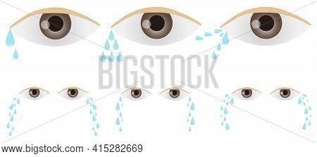 Human Eyes With Tears. Human Eye Icon. Vector, Cartoon Illustration. Vector.