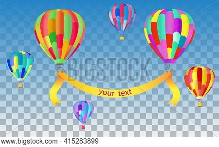 Banner Template Design With Colorful Balloons / Hot Air Balloons, With Copy Space On The Banner Betw