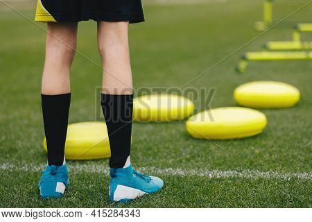 Sports Balance Training. Stability Soccer Training On Balance Cushion. Young Soccer Player Improving
