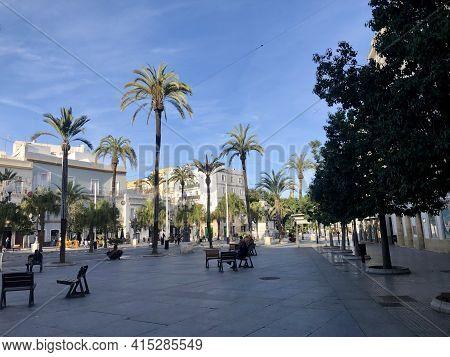 Cadiz, Andalucia, Spain - December 25, 2019: Square Of San Juan De Dios In Cadiz Old Town