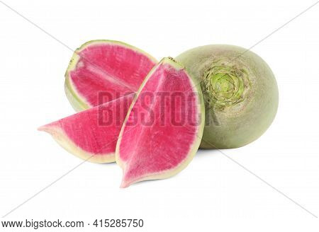 Cut And Whole Fresh Turnips On White Background