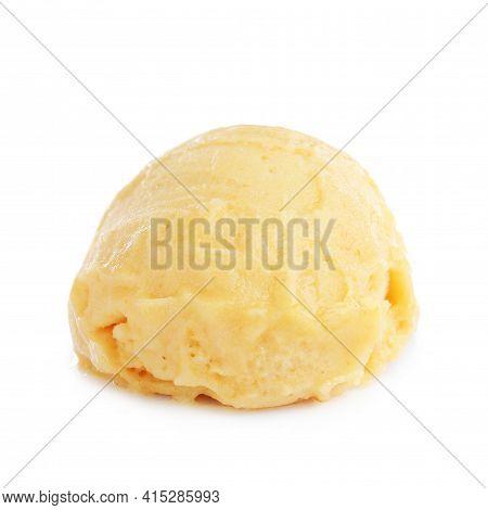 Scoop Of Delicious Yellow Ice Cream Isolated On White