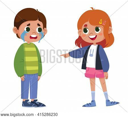 Vector, Characters, Children, Bullying, Fun. The Girl Points Her Finger At The Boy Who Is Crying And