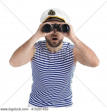 Shocked Sailor Looking Through Binoculars On White Background