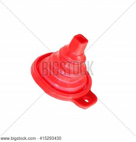 Sales Funnel Symbol: Red Funnel Isolated On White Background