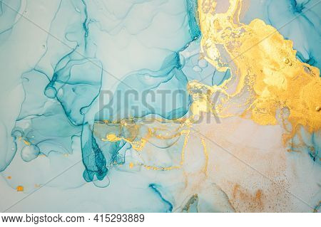 Golden Abstract Liquid. Alcohol Inks On Paper. Metallic Wave Mix. Art Acrylic Texture. Abstract Back