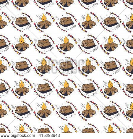 Seamless Pattern With Firewood And Bonfire. Seamless Pattern On A White Background. Cute Vector Illu