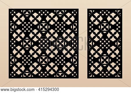 Laser Cut Patterns. Vector Design With Elegant Geometric Ornament In Arabesque Style, Abstract Flora