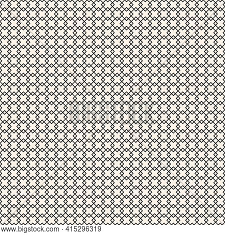 Subtle Diamond Grid Vector Seamless Pattern. Abstract Geometric Monochrome Texture With Lines, Rhomb