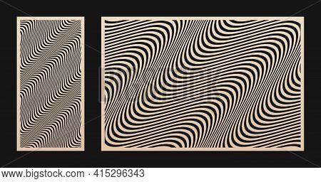 Laser Cut Pattern Set. Vector Design With Abstract Geometric Texture, Waves, Curved Lines, Stripes.