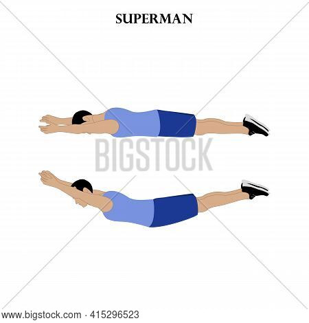 Superman Exercise Illustration On The White Background. Vector Illustration
