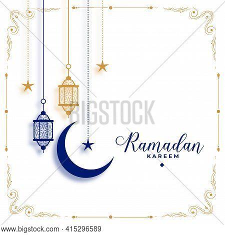 Elegant Ramadan Kareem White Greeting Decorative Design