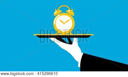Time Management Concept. The Waiter Offers Alarm Clock On Tray. The Concept Of Time, Value Of Time A