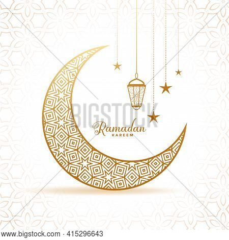 Elegant Ramadan Kareem Decorative Moon And Lanterns Greeting