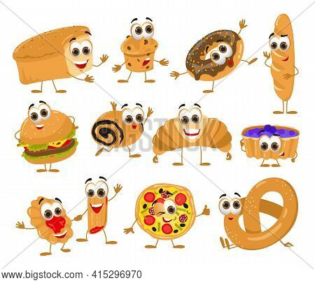 Set Of Funny Bread With Eyes On White Background, Funny Products Series, Flat Vector Illustration