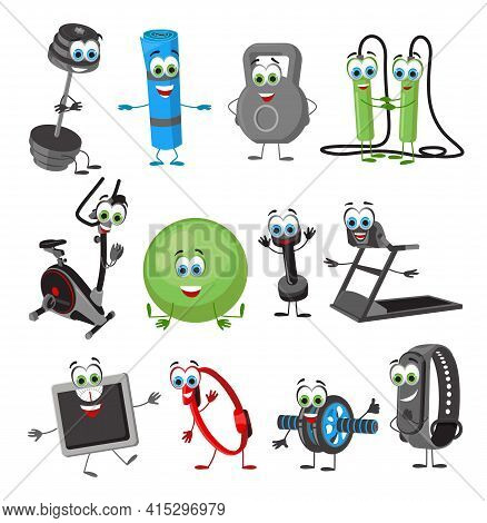 Set Of Funny Fitness Objects On White Background, Fitness Collection, Flat Vector Illustration