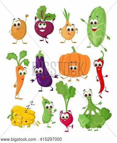 Set Of Funny Vegetables With Eyes On White Background. Cartoon Funny Vegetables Characters, Flat Vec