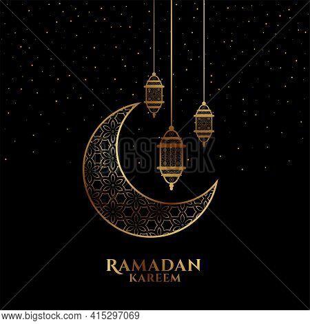 Eid Mubarak Or Ramadan Kareem Black And Golden Decorative Greeting