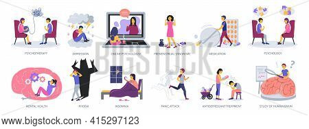 Set Of Psychotherapy And Psychology Concepts On White Background, Flat Design Vector Illustration