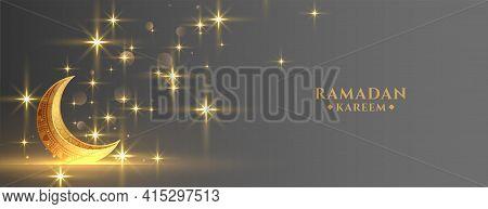 Eid Festival Golden Moon With Sparkles Ramadan Banner
