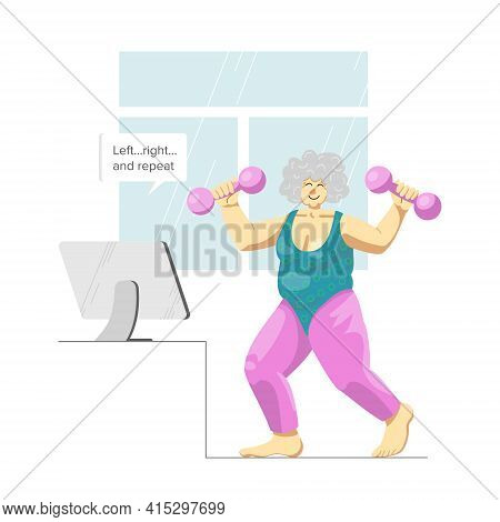 Vector Image Of An Elderly Happy Lady Doing Aerobics As Her Home Sport Activity. Smiling Senior Woma