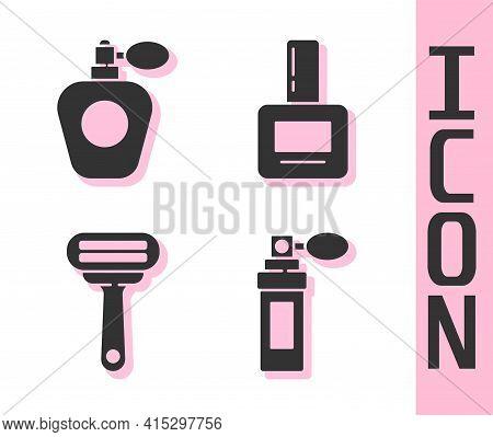 Set Perfume, Perfume, Shaving Razor And Nail Polish Bottle Icon. Vector