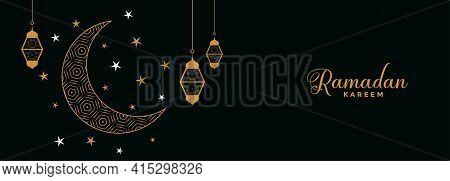 Flat Eid Moon And Stars Ramadan Kareem Banner Design