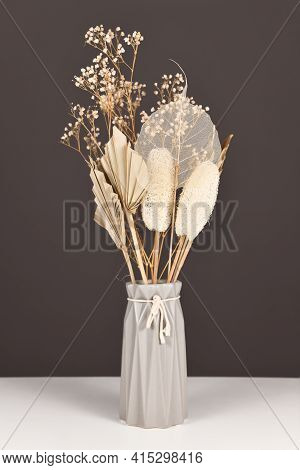 Dried Natural Flowers Bouquet In Gray Vase With Flowers And Leaves Like Palm Leaf, Skeleton Leaf, Lu