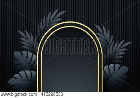 Minimal Black Scene With Geometric Shapes And Palm Leaves. Gold And Black Frame On A Black Backgroun
