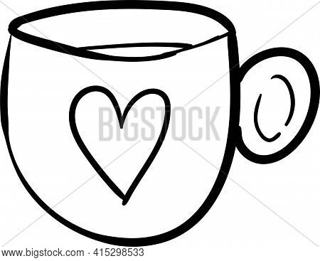 Cute Mug With Tea Or Coffee, Decorated With A Heart, Hand-drawn In One Stroke Style, Vector Illustra
