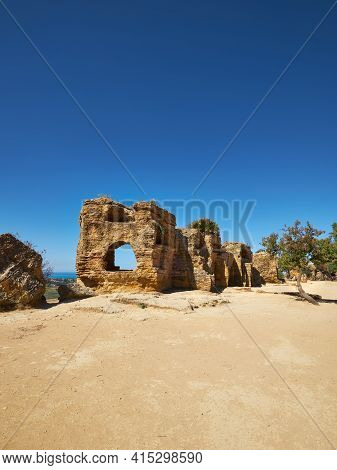 Ancient Protective Wall Of Akragas Town.valley Of Temples, Agrigento, Sicily Island In South Italy.